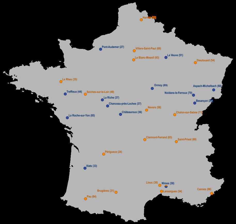 Carte des centres de tri Coved Environnement