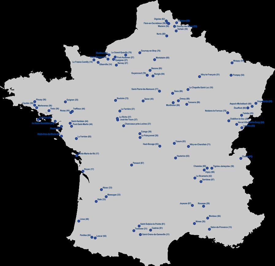 Carte de France des collectes de déchets par Coved Envrironnement