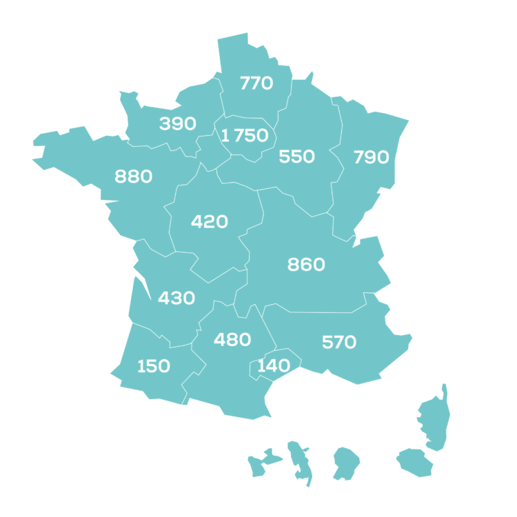Carte france Emplois Coved